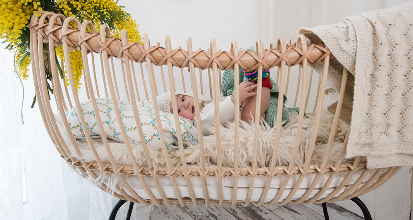 Rattanbett Rattanbetten für Babies, Schöne Babybetten aus Rattan
